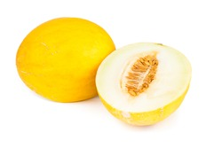 Canary melon over white background.