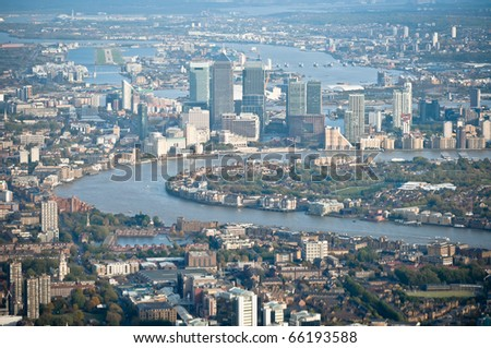 Canary Wharf, aerial view from West