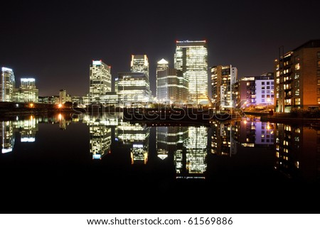 Canary Wharf by night, London, UK