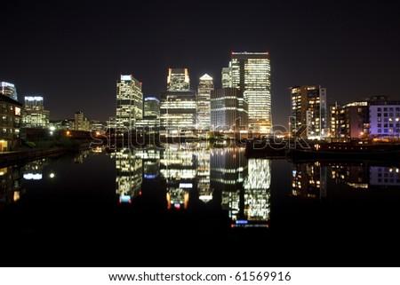 Canary Wharf by night, London, UK