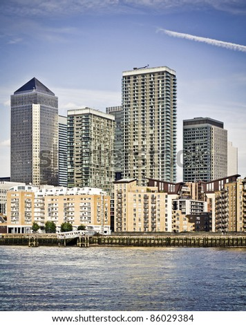 Canary Wharf, Famous skyscrapers of London's financial district.