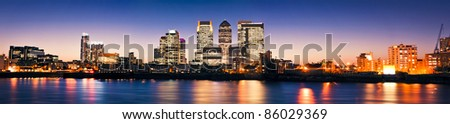 Canary Wharf , Famous skyscrapers of London's financial district at twilight.