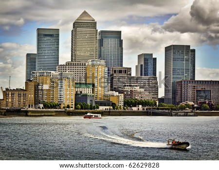 Canary Wharf, Famous skyscrapers of London's financial district. incl.: Credit Suisse, Morgan Stanley, HSBC Group Head Office, Canary Wharf Tower, Citigroup Centre, One Churchill Place(Barclays)