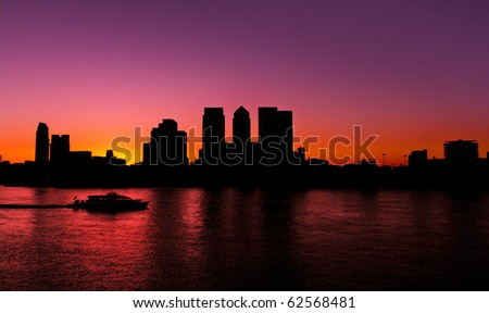 Canary Wharf, Famous skyscrapers of London's financial district. This view includes: Credit Suisse, Morgan Stanley, HSBC Group Head Office, Canary Wharf Tower, Citigroup Centre. Silhouette (Blacklit)