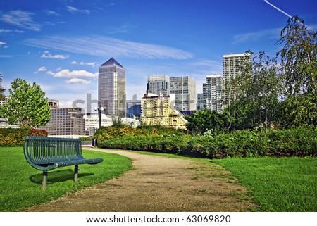 Canary Wharf, Famous skyscrapers of London's financial district. This view includes: Credit Suisse, Morgan Stanley, HSBC Group Head Office, Canary Wharf Tower, Citigroup Centre