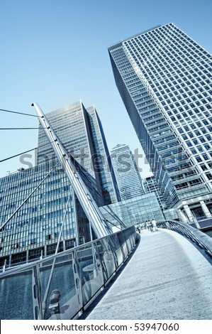 Canary Wharf is a large business and shopping development in East London.Rivalling London's traditional financial centre. This view contains the UK's tallest buildings
