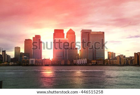 Canary Wharf Office and Banking aria view at sunset, London #446515258