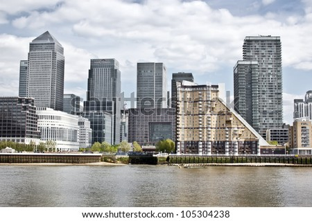 Canary Wharf Skyline from the Thames, London
