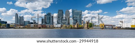 Canary Wharf Skyline Panoramic picture of Canary Wharf , London.