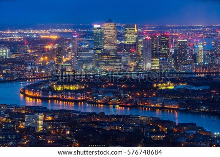 Canary Wharf skyscrapers and Thames river, London, UK #576748684