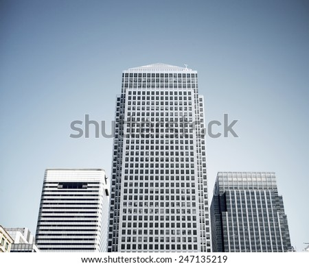 Canary wharf skyscrapers in London.