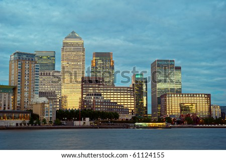 Canary Wharf, the other financial business district, Isle of Dogs, London, England, UK, Europe, at dusk