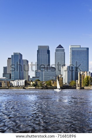 Canary Wharf view from Greenwich. Canary Wharf is a large business and shopping development in East London. London's traditional financial centre.