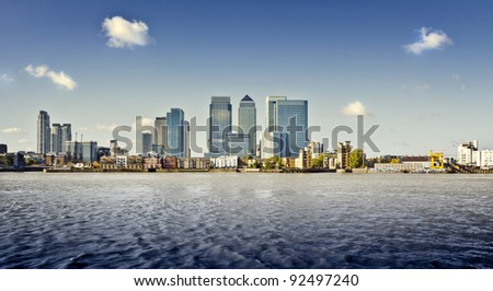 Canary Wharf view from Greenwich, London, UK