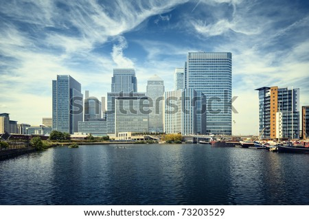 Canary Wharf view from West India Docks. Foto stock ©