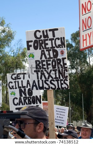 CANBERRA, AUSTRALIA - MARCH 23 : Protesters at the 'No Carbon Tax' rally, which was held in front of Parliament House, 23 March, 2011, Canberra, Australia - stock photo