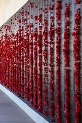 Canberra War memorial with red poppies wall view.