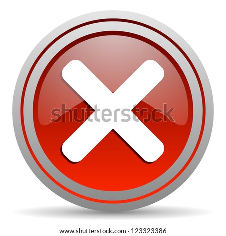 cancel red glossy icon on white background
