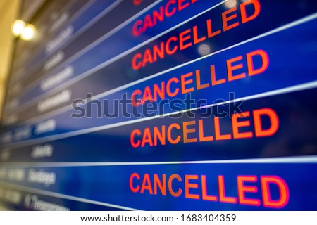 Cancelled flights at airport due to the Coronavirus  Foto stock ©