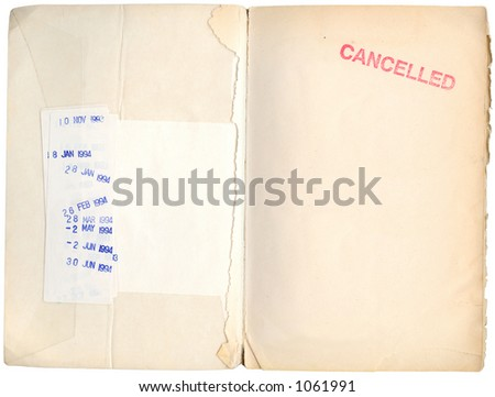 cancelled library book - 1994 due date stamps and the remnants of the first page