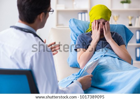 Cancer patient visiting doctor for medical consultation in clini