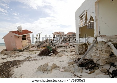 Cancun Caribbean houses after hurricane storm crash disaster
