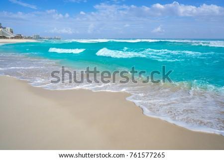 Cancun caribbean white sand beach in Mayan Riviera of Mexico #761577265
