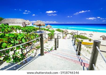 Cancun, Mexico. Tropical landscape with Caribbean Sea beach, Central America travel destination.