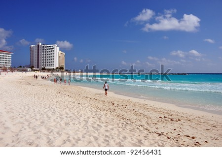 cancun, panoramic view of cancun beach during a sunny day
