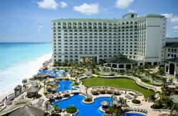 Cancun resort aerial view