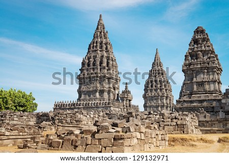 Candi Prambanan or Candi Rara Jonggrang is a 9th-century Hindu temple compound in Central Java, Indonesia, dedicated to the Trimurti: Creator (Brahma),  Preserver (Vishnu) and Destroyer (Shiva).