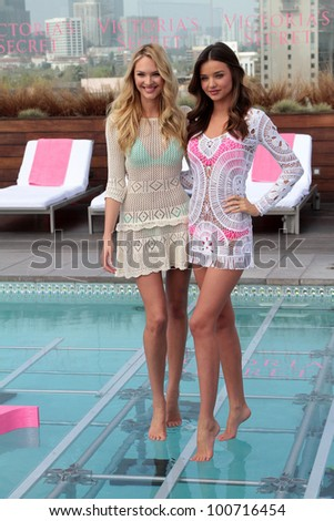 Candice Swanepoel, Miranda Kerr at Victoria's Secret 2012 SWIM Collection, Thompson Hotel, Beverly Hills, CA 03-29-12