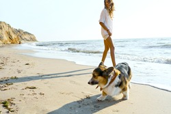 Candid lifestyle image happy woman with her pet Corgi dog having fun together at seashore of summer beach in morning
