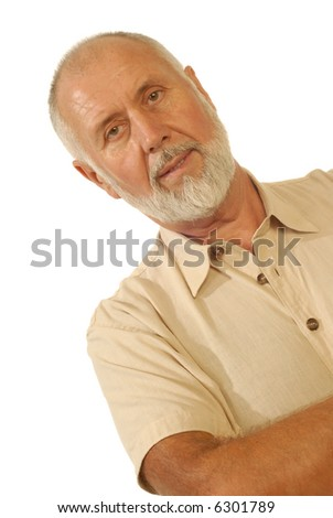 Candid portrait of a senior man smiling; isolated on white
