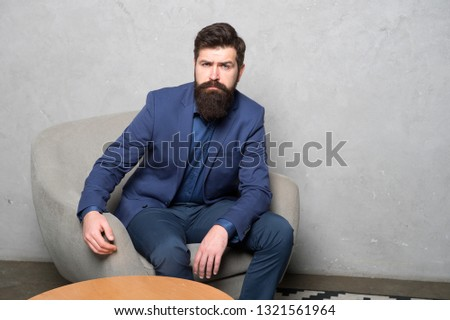 Candidate for job waiting result of interview. Decision making is part of management. Man bearded businessman thoughtful face solving problem making decision. Hard decision. Business decision. #1321561964
