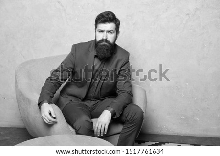 Candidate for job waiting result of interview. Decision making is part of management. Man bearded businessman thoughtful face solving problem making decision. Hard decision. Business decision.
