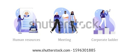 Candidates, career advice, executive jobs metaphors. Recruitment and headhunting agency, employment service icons set. Employees hiring. Concept metaphor illustrations