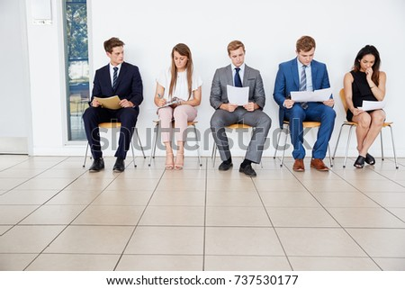 Candidates wait for job interviews, full length, copy space