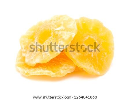 candied, aka  crystallized fruit isolated on white background - pinapple rings