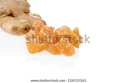 candied ginger with root