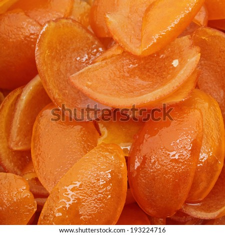 candied orange peel as background