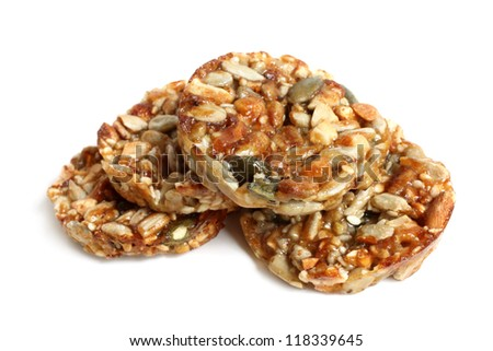 Candied seeds on a white background