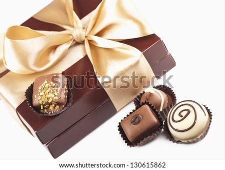 candies chocolate white dark dairy and box gift packing