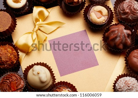Candies near a festive card