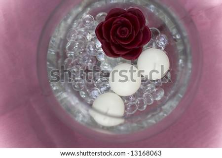 Candle Center Piece Overhead - stock photo