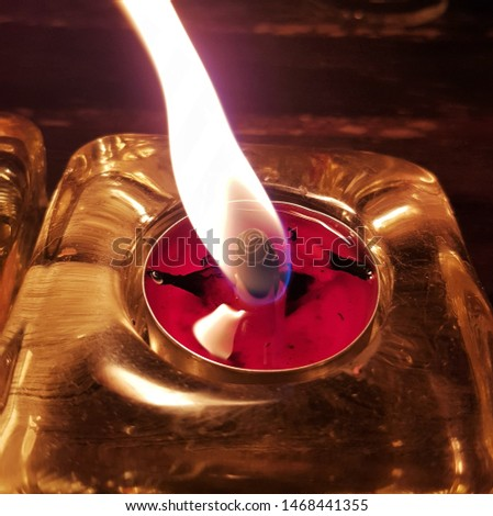 Candle close-up. Flame from candle. Picture was taken on 14th of August 2018.