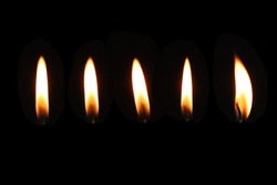 candle flame set isolated in black background