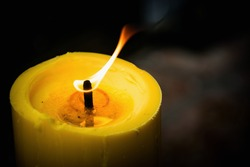 Candle flame with close-up