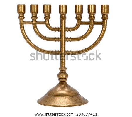 candle holder for seven candles Menorah  isolated on white background #283697411