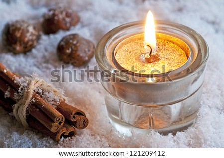candle in snow